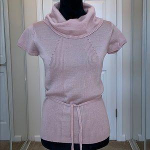 BCBG MAXAZRIA Blush/Pink short Sleeve Sweater.